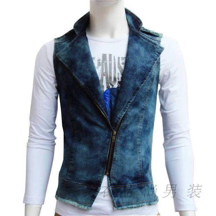 Мужская жилетка из джинсов