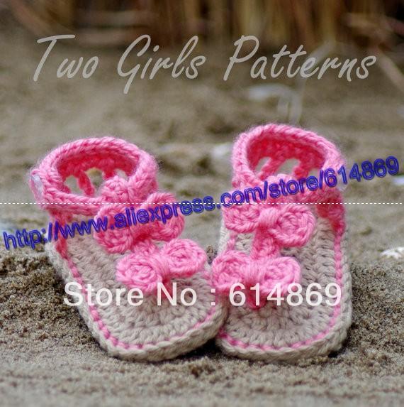 gastos de envío, crochet bebé lindo zapatos de suela doble sandalias ...