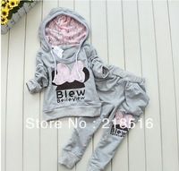 Promotion!! Baby girls /boys clothing sets cotton high quality sports sets purple/pink/gray colors cartoon tracksuits