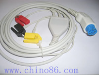 Artema/S&W one piece three lead ECG cable with leadwire, high quality , competitive price