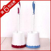Fashionable wholesale Free shipping Toilet brush set brush plastic cleaning brush belt anti-slip soles 6pcs/lot