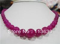6-14mm Rose Alexandrite Gemstone Round Necklace 18''