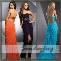 Custom Made Floor-Length Chiffon Empire Sheath Strapless Ruffle Beaded Waist Sexy  Evening Prom Dresses -BJE25