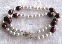 "7.5"" 2 row Gray & Chocolate Multi Color Pearl Bracelet"