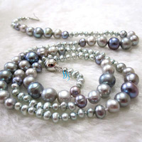 "21"" 3-8mm Gray Graduated Freshwater Pearl Necklace Strand Dyed Color"