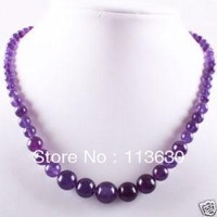 """Lovely!6-14mm Round Amethyst Beads Gemstone Necklace 17"""""""
