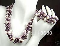 Beautiful purple freshwater pearl necklace,bracelet