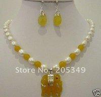 Fancy jade Elephant pendant necklace earrings jewellery sets