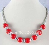 Fashion Tibet Silver Red Coral Necklace