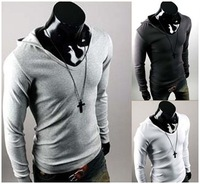 2014 new arrival high quality personality british style male slim with a hood long-sleeve T-shirt hot sale