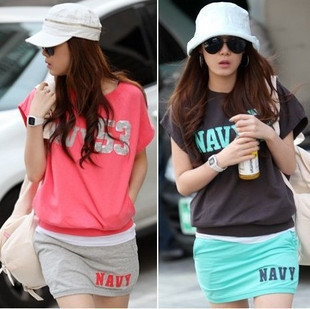 2013 summer fashionable casual plus size loose short skirt set sweatshirt casual sports set dress(China (Mainland))