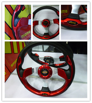Free Shipping !! MOMO Racing Steering Wheel 13-inch PU Red Color