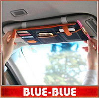 Free Shipping FEDEX Wholesale MP3 Phone Storage car multi-purpose sun visor organizer bag Storage Bag
