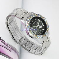 Black Dial Fashion muticolor diamond crystal dial design Women Lady Silver Analogue Stainless Steel watch band Sport Wrist Watch