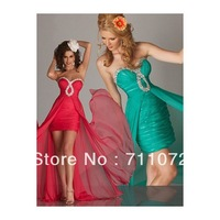 Best Design Front Short Long Back Sweetheart Chiffon Pleats Beaded Crystle Long Train Prom Dresses