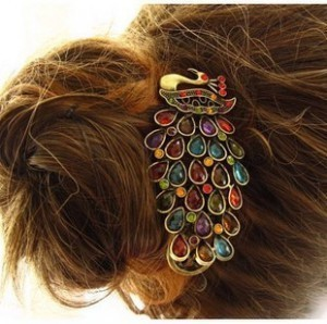 Min.order is $10(mix order) Free shipping Hair accessory classical peacock crystal hairpin spring clip hair accessory