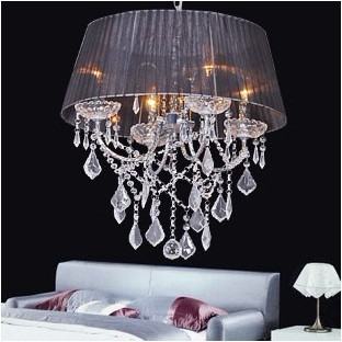 New Glass Crystal 48cm 4*40w Lamps Chandelier Fabric Shade Black/White/Wine(China (Mainland))