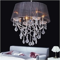 New modern Glass Crystal 48cm 4*40w Lamps Chandelier Fabric Shade Black/White/Wine