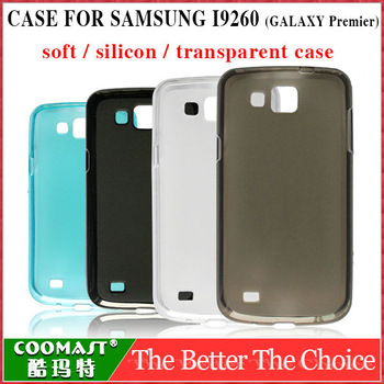 silicon Skin Case candy color transparent Cover For samsung I9260 GALAXY Premier 1PCS Free Shipping