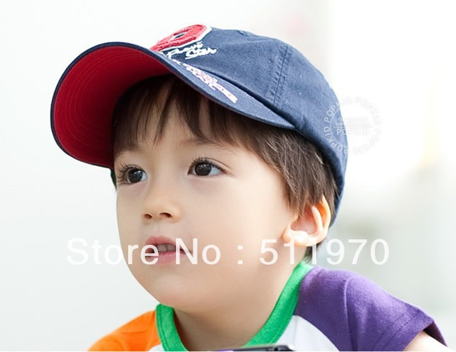 Free shipping New Arrival 10pcs/lot Korea Kids` P Letter baseball embroider hat Kid sports cat Children sun covering ca(China (Mainland))