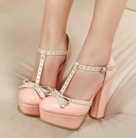 Ladies Sexy High Heels Shoes Platform Women Pumps With Bowknot T-strap Pink China Size 38 SKR8386