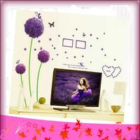 Free Shipping 45*65cm Wall Stickers Removing Bedroom Living Room Sofa Bathroom Romantic Purple Dandelion Wall Stickers