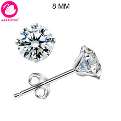 Free Shipping! Cone-Shaped Platinum Plated & 4 Prongs 8MM 2.2 CT Round Brilliant Cut Grade AAA CZ Diamond Stud Earring (0578)(China (Mainland))