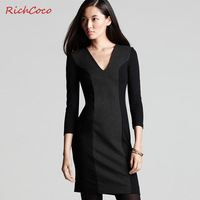 2013 new fashion casual autumn summer one-piece slim dress colorant match patchwprk V-neck medium-long plus big size