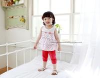 new 2014 Summer Baby girl clothing set,polka dots cake peplum tops for children+red leggings 2pcs lovely baby&kids outerwear set