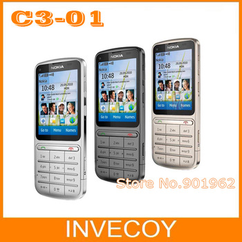 10pcs/lot EMS free Original Unlocked nokia C3-01 cell mobile phone with WIFI/3G/Touch screen freeship