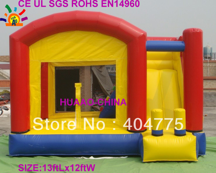 free shipping commercial grade PVC inflatable slide bouncer combo +free carry bag+free CE/UL air blower(China (Mainland))