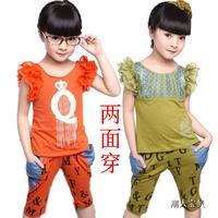 Children's clothing female child summer 2013 backwa-rds and reversible short-sleeve sports casual child set