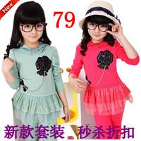 Short in size children's clothing female child spring 2013 decoration lace set child set
