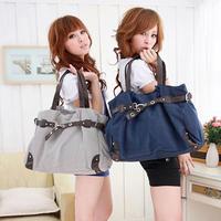 Big student bag 2012 female canvas bag gentlewomen handbag one shoulder girls bags preppy style