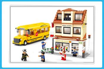 M38-B0333 BUS sluban Building Block Set 3D  Construction Brick Toys Educational Block toy for Children