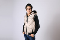 2013 new leisure mens warm and high quaity winter outwear,fashion cotton vest with hat 3 colors wine red,blue,beige