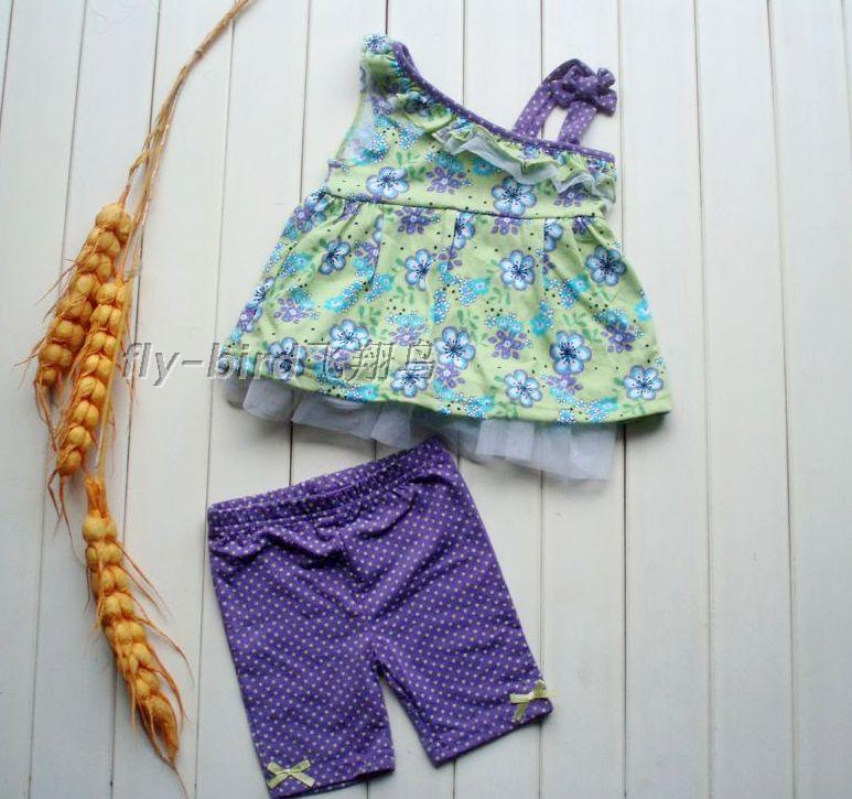 Children&#39;s clothing female child baby suspender skirt top short trousers twinset 0 - 5 baby children(China (Mainland))