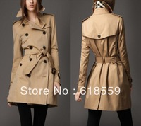 Free shipping fashion women's plaid  trench coat  Double-breasted outerwear retail&wholesale