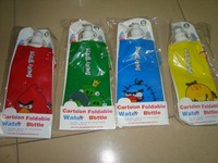 Retail Freeshipping  foldable  sports water bottle 480ml 4 cartoon designs &colors available cartoon bottle 4pcs/lot