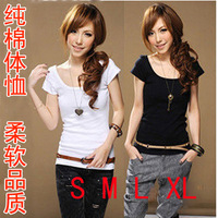 2013 summer white short-sleeve T-shirt female slim plus size clothing t o-neck casual gentlewomen