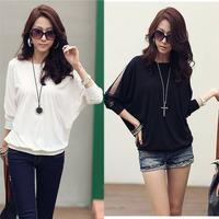 2015 Brand New Women's Cotton Loose T Shirt Top Dolman Batwing Lace Long Sleeve Shirt Blouse for Women Black  White  S M L XL