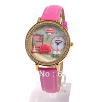 Polymer clay watch handmade cartoon lady box ladies watch.free shipping