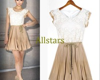 Free Shipping Spring and Summer women's lace dress fashion patchwork lace pleated one-piece dress sleeveless chiffon dressD-103