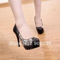 2013 new Rhinestone tassel thin heels 12cm  high-heeled shoes shallow mouth platform  princess single shoes