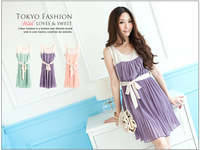 HOT PROMOTION A8099 tank dress elegant bandage pleated women's summer chiffon one-piece dress