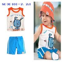 retail   casual summmer baby boy clothing sets cotton vest +short pants sets blue casual sleeve t shirt 2 pcs suit