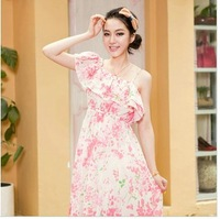 HOT PROMOTION A8339 women's new arrival fancy bohemia beach dress tube top full dress chiffon short-sleeve dress