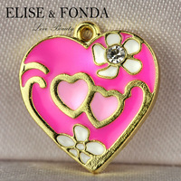 C68b 2015 Fashion Gift  Wholesale 10 pcs Pink Heart LOVE Gold Tone DIY Charms Pendants  for necklace