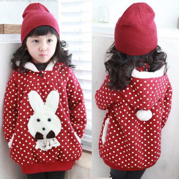 free shipping 2013 spring autumn winter christmas hat rabbit child baby girl hoodie dot coat red color(China (Mainland))