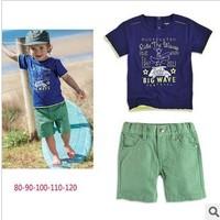 ABP kids Free shipping 2013 boy suit short t-shirt + shorts summer baby boy clothing